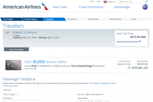 Atlanta to Cancun: American Airlines Booking Page