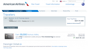 Boston to St Thomas: American Airlines Booking Page