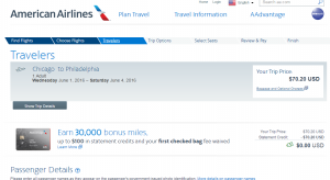 Chicago to Philly: American Airlines Booking Page