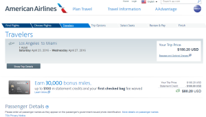 LA to Miami: AA Booking Page