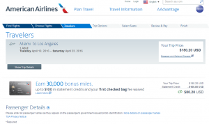 Miami to LA: AA Booking Page