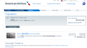 NYC to San Juan: American Airlines Booking Page