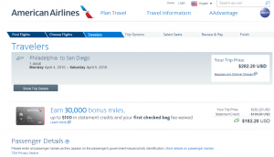 Philly to SD: American Airlines Booking Page