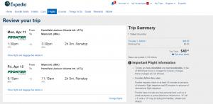 Atlanta to Miami: Expedia Booking Page
