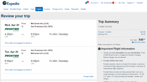 Las Vegas to SF: Expedia Booking Page