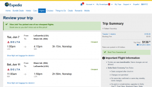 NYC to Miami: Expedia Results Page