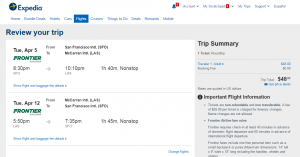 SF to Las Vegas: Expedia Booking Page