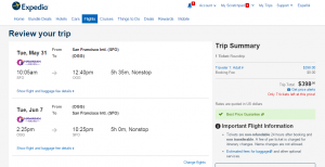 SF to Maui: Expedia Booking Page