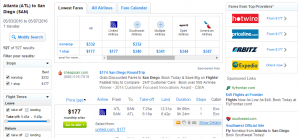 Atlanta to San Diego: Fly.com Results Page