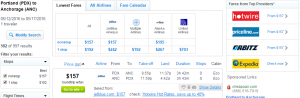 Portland to Anchorage: Fly.com Results Page