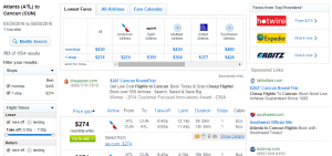 Atlanta to Cancun: Fly.com Results Page