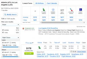 Atlanta to LA: Fly.com Results Page