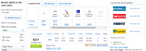 Boston to San Juan: Fly.com Results Page