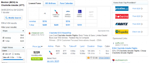 Boston to St Thomas: Fly.com Results Page