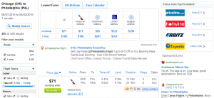 Chicago to Philly: Fly.com Results Page