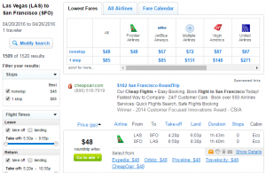 Las Vegas to SF: Fly.com Results Page