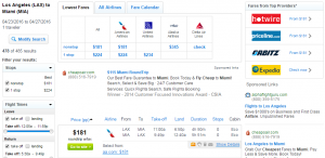 LA to Miami: Fly.com Results Page