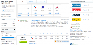 Miami to LA: Fly.com Results Page