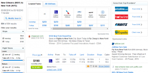 New Orleans to New York City: Fly.com Results Page