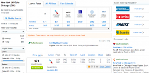 NYC to Chicago: Fly.com Results Page