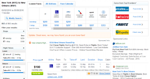 New York City to New Orleans: Fly.com Results Page
