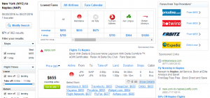 NYC to Naples: Fly.com Results Page