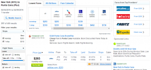 NYC to Punta Cana: Fly.com Results Page