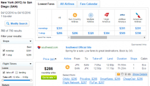 NYC to SD: Fly,com Results Page
