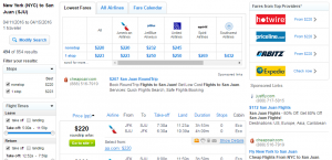 NYC to San Juan: Fly.com Results Page
