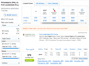 Philly to Ft Lauderdale: Fly.com Results Page