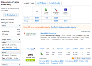 Philly to Miami: Fly.com Results Page