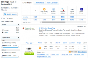 SD to Boston: Fly,com Results Page