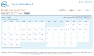 NYC to MIA: ITA Calendar Page