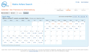 SF to Johannesburg: ITA Calendar Page