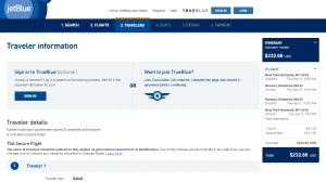 NYC to Nassau: JetBlue Booking Page