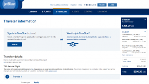 SF to NYC: JetBlue Booking Page