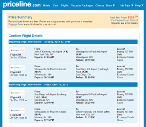 NYC to SD: Priceline Booking Page