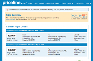 Philly to Ft Lauderdale: Priceline Booking Page