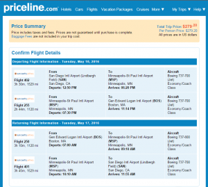 SD to Boston: Priceline Booking Page