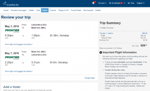 NYC to Miami: Travelocity Booking Page