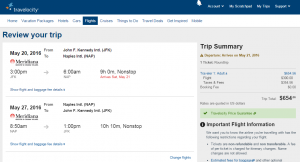 NYC to Naples: Travelocity Booking Page