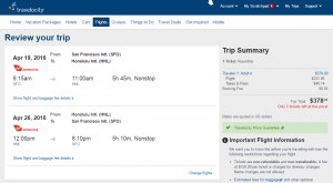 SF to Honolulu: Travelocity Booking Page Page