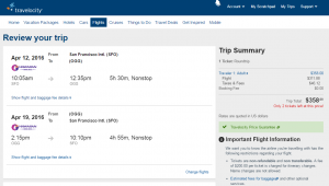 SF to Maui: Travelocity Booking Page