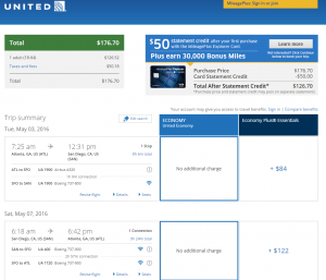 Atlanta to San Diego: United Booking Page