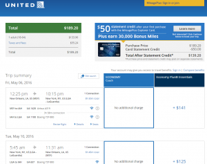 New Orleans to New York City: United Booking Page