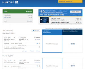 New York City to New Orleans: United Booking Page