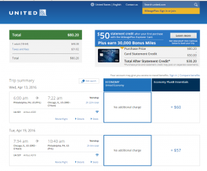 Philly to Chicago: United Booking Page