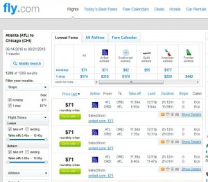 Atlanta-Chicago: Fly.com Search Results