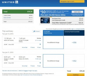 Atlanta-Chicago: United Airlines Booking Page