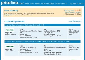 Atlanta to Las Vegas: Priceline Booking Page
